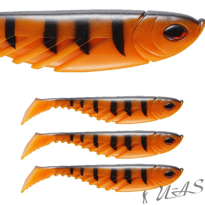 Berkley Powerbait Pulse Shad Gummifisch 4 St 8CM Orange Black Top Soft Bait Sha